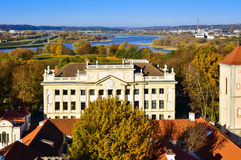 Kaunas old town cityscape archdiocese house aerial view Royalty Free Stock Photo