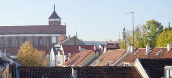 Kaunas Old Town Roofs Panorama stock photo