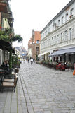 Kaunas 21,2014-Street augusto del centro storico di Kaunas in Lituania Fotografia Stock
