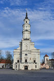Kaunas town hall facade Lithuania. Kaunas old town square, town hall, Lithuania. The Town Hall is distinguished by its slenderness and grace Royalty Free Stock Photos