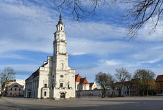 Kaunas town hall Lithuania. Kaunas old town square, town hall, Lithuania. The Town Hall is distinguished by its slenderness and grace Stock Images
