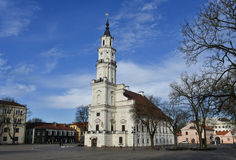 Kaunas town hall square Lithuania. Kaunas old town square, town hall, Lithuania. The Town Hall is distinguished by its slenderness and grace Royalty Free Stock Photo