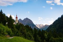 Free Kaunertal Kaltenbrunn, Austria Landscape With The Unserer Lieben Frau Mariä Himmelfahrt Church Our Lady Of The Assumption. Stock Photography - 159682992