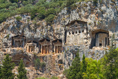 Kaunian rock tombs from Dalyan Royalty Free Stock Photo