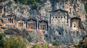 Kaunian rock tombs from Dalyan, Ortaca, Turkey Royalty Free Stock Photo