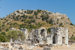 Kaunos ancient city from Dalyan Royalty Free Stock Images