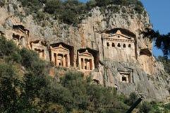Kaunos Lycian岩石坟茔, Dalyan,土耳其 免版税库存照片