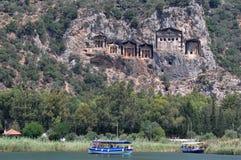 Kaunos Lycian Rock Tombs, Dalyan, Turkey Stock Photos