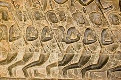 Kaurava Army bas relief, Angkor Wat Royalty Free Stock Photo
