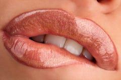 Kauwende lippen stock foto