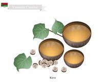 Kava drink eller traditionell vanuatisk växt- dryck stock illustrationer