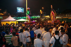 Kavadi bearer and crowds Royalty Free Stock Photography