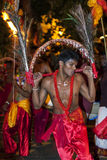 A Kavadi Dancer performs through the streets of Kandy during the Esala Perahera in Sri Lanka. Stock Photography
