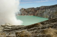 Kavah Ijen volcano. Kavah Ijen - turquoise colored acid crater lake royalty free stock photography
