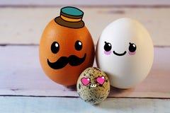 Kavain rodzina jajko tata mama i jajko syn Zdjęcie Royalty Free