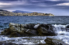Kavala the azure city Stock Photos