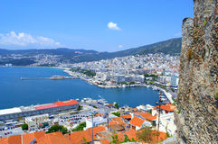 Kavala castle and seaport,Greece Royalty Free Stock Image