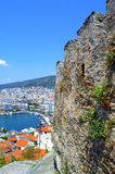 Kavala castle and seaport,Greece Royalty Free Stock Photos