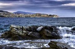 Kavala die azurblaue Stadt Stockfotos