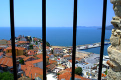 Kavala  fortification window view ,Greece Stock Photos