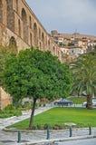 Kavala Greece. Kavala, Greece aqueduct and castle Stock Image