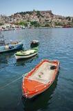 Port city Kavala, Greece. Summer seascape Royalty Free Stock Photography