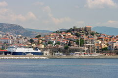 Port city Kavala, landmark attraction in Greece, and the fortress on top of the hill Stock Photography