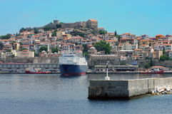 Port city Kavala, landmark attraction in Greece, and the fortress on top of the hill Royalty Free Stock Images