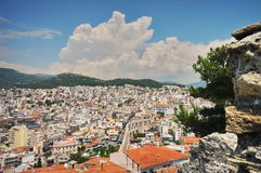 Port city Kavala, landmark attraction in Greece royalty free stock photo