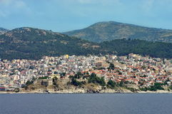 Port city Kavala, landmark attraction in Greece Stock Image