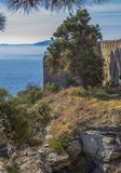 View from the fortress of Kavala to the Aegean Sea and Thassos Island in the distance, Greece. royalty free stock photography
