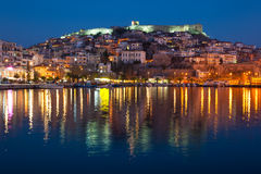 Kavala Town at Night Royalty Free Stock Photos