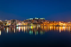 Kavala Town at Night Stock Image