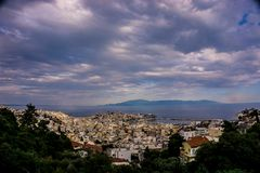 Kavala town panorama with cloudy sky royalty free stock image