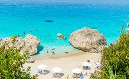 Kavalikefta strand, Lefkada ö, Grekland Arkivbild