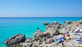 Kavalikefta-Strand, Lefkas, Griechenland lizenzfreies stockfoto