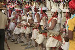 KAVANT`S GER FAIR 2018. Rathva Tribal community men and women makeup & dressed in their distinctive finery gradually congregating to sing and dance, discuss Stock Photos
