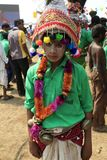 KAVANT`S GER FAIR 2018. Rathva Tribal community men and women makeup & dressed in their distinctive finery gradually congregating to sing and dance, discuss Stock Photography