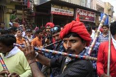 KAVANT GER FAIR near Chhota Udepur  around 120 kms from BARODA. Rathva Tribal community men and women makeup & dressed in their distinctive finery gradually Stock Images