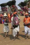 KAVANT GER FAIR near Chhota Udepur  around 120 kms from BARODA. Rathva Tribal community men and women makeup & dressed in their distinctive finery gradually Stock Photography