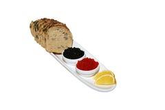 Kaviaar, citroen en brood Royalty-vrije Stock Afbeeldingen