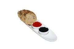 Kaviaar en brood met pompoenzaden Stock Foto