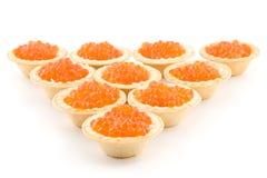 Kaviaar in tartlets Stock Foto's