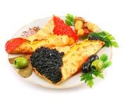 Kaviar-angefüllte Pfannkuchen Lizenzfreie Stockfotografie