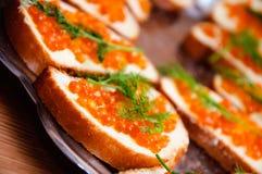 Kaviar auf einem Brot Lizenzfreies Stockbild