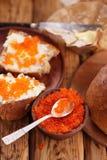 Kaviar och hemlagat bröd Royaltyfria Foton