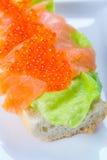 Kaviar och rökt laxsmörgås Fotografering för Bildbyråer