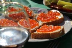 Kaviar på en platta arkivbild
