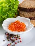 Kaviarlodlinje för röd lax royaltyfria bilder