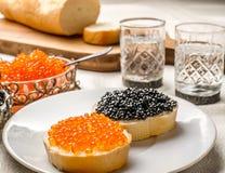 Kaviarsmörgåsar med vodkaskott Fotografering för Bildbyråer